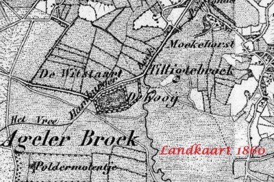 Landkaart 1861 De Kooij in Tilligte