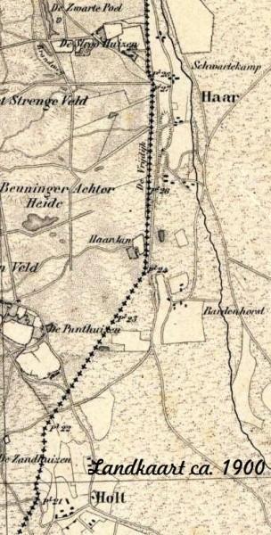 Landkaart Holt und Haar ca. 1900