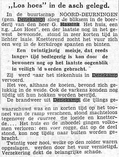 Los Hoes Klinge in Noord Deurningen in de asch gelegd