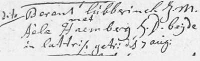 Lúbberinck Berent en Aéle Haemberg  07-08-1718