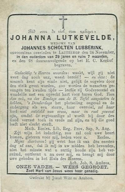 Lutkevelde  Johanna  'Lutke Veldink' 09-04-1852 wv Johannes Scholten Lubberink Ovl 'Lubberman' Latterop 24-11-1881