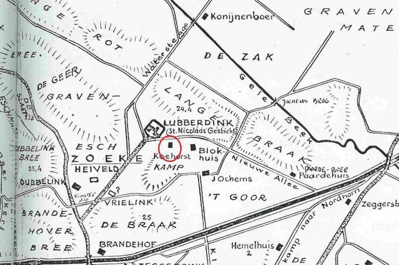 Markekaart Noord Deurningen 1943 (Dingeldein)