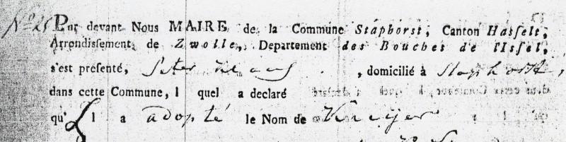 Naamaanneming Kuijers 1811