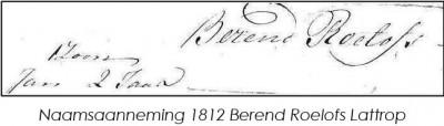 Naamsaanneming 1815 Berend Roelofs Lattrop