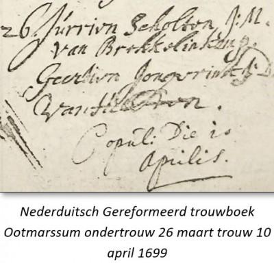 Nederduitsch Gereformeerd trouwboek Ootmarssum ondertrouw 26 maart trouw 10 april 1699