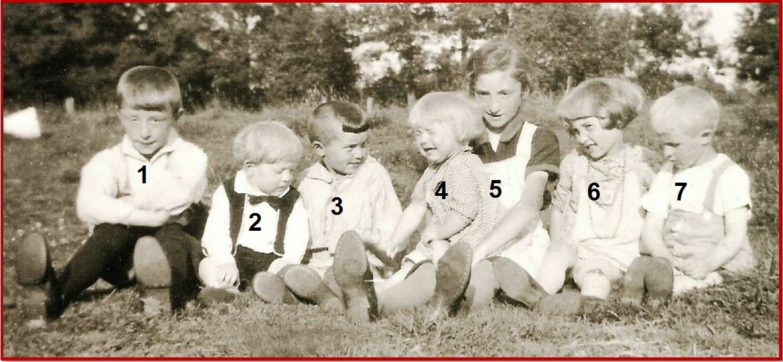 Neven en nichten families Lohuis-Klein Lambers (Loo-Geert) en Lohuis-Klukkert (Loo-Harm) Breklenkamp