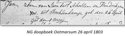 NG doopboek Ootmarssum Jan zv Lambert Scholten en Hendrikjen Vos uit Breklenkamp 26 april 1803