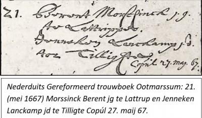 NG trouwboek Ootmarssum 21-05-1667 Berent Morssinck en Jenneken Lanckamp