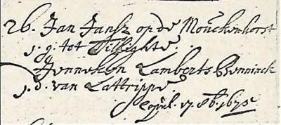 NG trouwboek Ootmarsum 1675 Jan Jansz(oon) ten Bokum en Jenneken Lambertsz Benninck