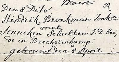 NG trouwboek Ootmarsum Hindrik  Broekman en Jenneken Schulten 8 april 1759
