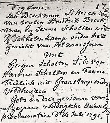 NG trouwboek Ootmarsum Jan broekman en Geesjen Scholten 14-07-1791