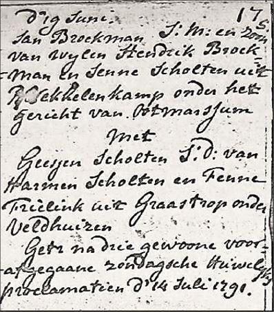 NG trouwboek Ootmarsum Jan Broekman en Geesjen Scholten 14 juli 1791
