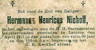 Bidprentje Niehoff Hermanus Henricus Lattrop 1845-1911
