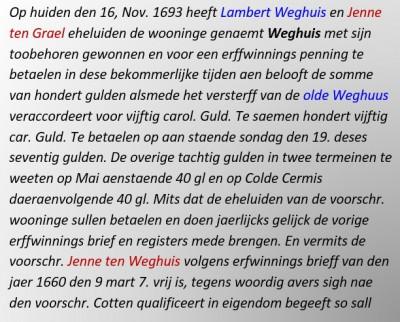 Op huiden den 16, Nov. 1693 heeft Lambert Weghuis en Jenne ten Grael eheluiden de wooninge genaemt Weghuis