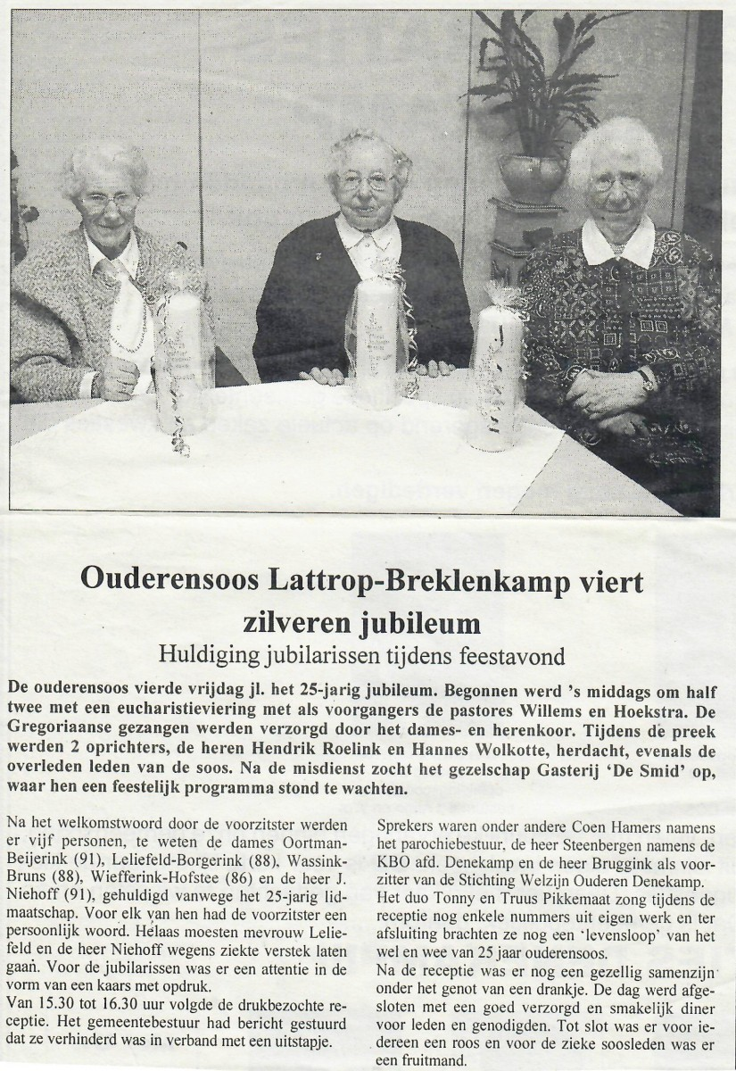 Ouderensoos Lattrop-Breklenkamp viert zilveren jubileum 2000