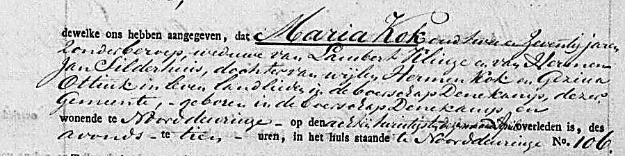 Overlijdensakte Denekamp van Maria Kok 29-04-1830