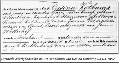 Overlijdensakte Gesina Kotkamp wv Gerrit Boers ev Jan Westerhof Breklenkamp 4-3-1857