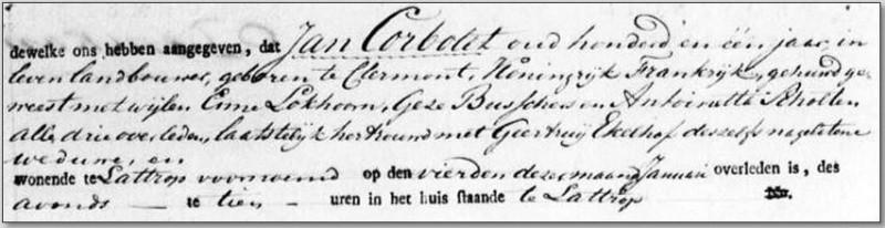 Overlijdensakte Jean Corbelet Lattrop 1824
