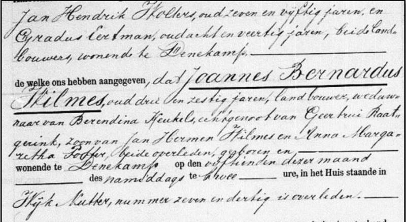 Overlijdensakte Joannes Bernardus Wilmes Nutter 37 15-11-1885