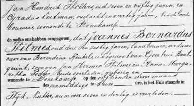 Overlijdensakte Joannes Bernardus Wilmes1 5-11-1885 Nutter 37