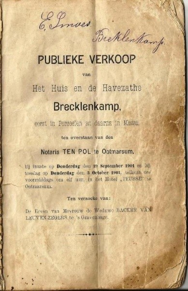 Publieke verkoop Huis Breklenkamp 1901