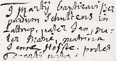 RC doopboek Ootmarssum 09-03-1694 Bernardus Schultens