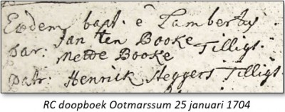 RC doopboek Ootmarssum 25 januari 1704 Lambertus ten Booke