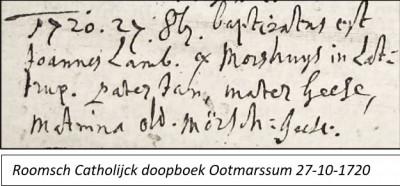 RC doopboek Ootmarssum 27-10-1720 Joannes Lambertus Morshuijs Lattrop