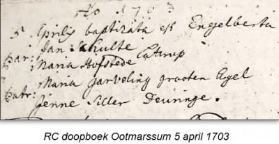 RC doopboek Ootmarssum 5 april 1703