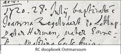 RC doopboek Ootmarssum Joanna Zegelvaert 28-07-1720