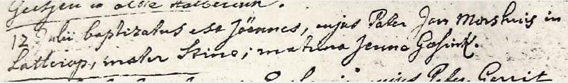 RC doopboek Ootmarssum Joannes Morshuis Lattrop 12-07-1743.