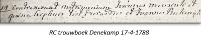 RC trouwboek Denekamp 17-4-1788 Joannes mensink en Gesina Kiphuis