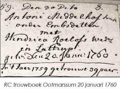 RC trouwboek Ootmarssum Antoni Middelhof en Hendrica Roelofs wed Lattrop 20-01-1760