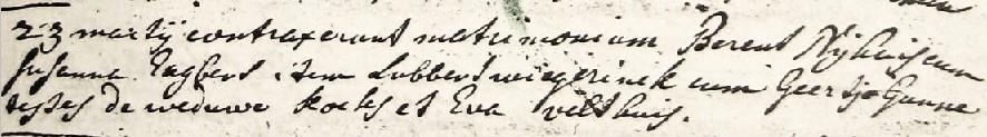 RC trouwboek Ootmarssum Berent Nijhuis en Susanna Engbers 23-03-1743
