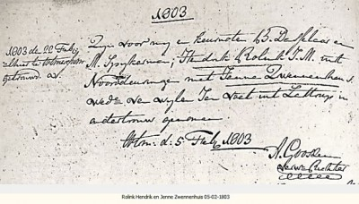 RC trouwboek Ootmarsum  Hendrik Rolink en Janna Zwennenhuis 22-02-1803
