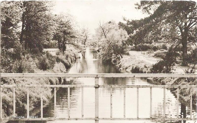 Riviertje De Dinkel bij brug Lattrop-Tilligteca. 1955