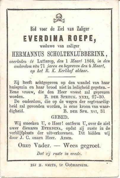 Bidprentje Roepe Everdina wv Hermannus Scholten lubberink Latterop 1795-1864
