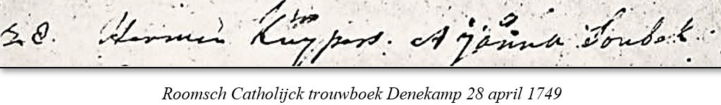 Roomsch Catholijck trouwboek Denekamp 28 april 1749