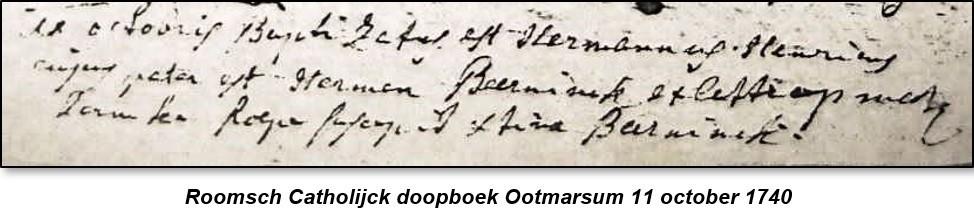 Roosch Catholijck doopboek Ootmarsum 11 october 1740