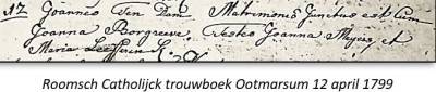 Roosch Catholijck trouwboek Ootmarssum 12 april 1799