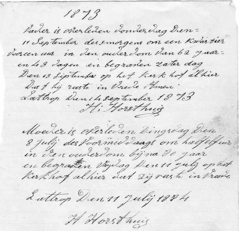 Bladzijden uit het Schrijfboek van Hendrik Horsthuis in Lattrop