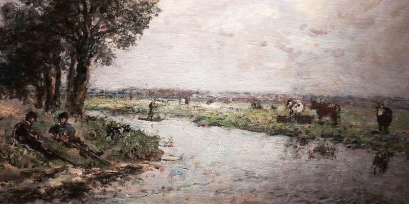 Schilderij Jongkind langs de rivie rde Dinkel nabij Lattrop