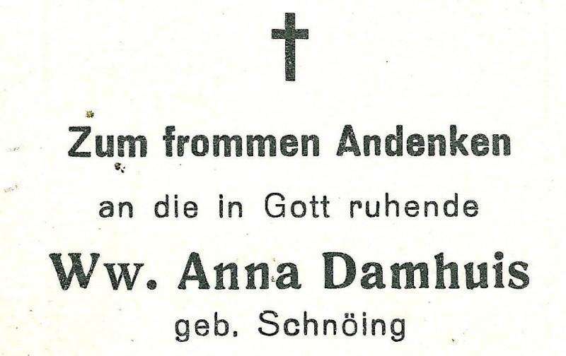 Bidprentje Schnoing Anna wv Gerhard Damhuis Wietmarschen1871-1950