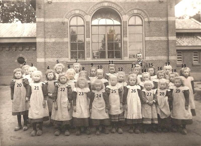 Schoolfoto Tilligte ca. 1914 meisjes (met meester Veldman)
