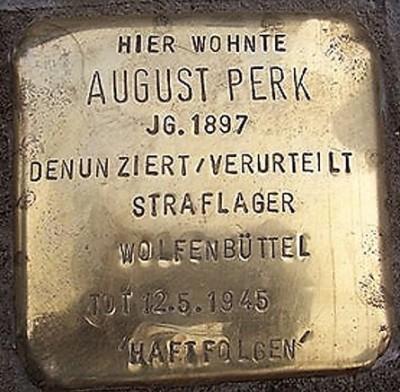 Stolperstein August Perk straflager Wolfenbüttel