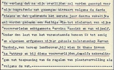 Testament Johannes Ruël (Eier-Jens) Lattrop 1943