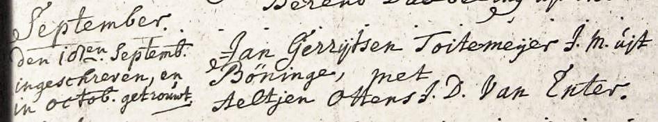 Toitemeijer Jan Gerrijtsen en Aeltjen Ottens 18-09-1706