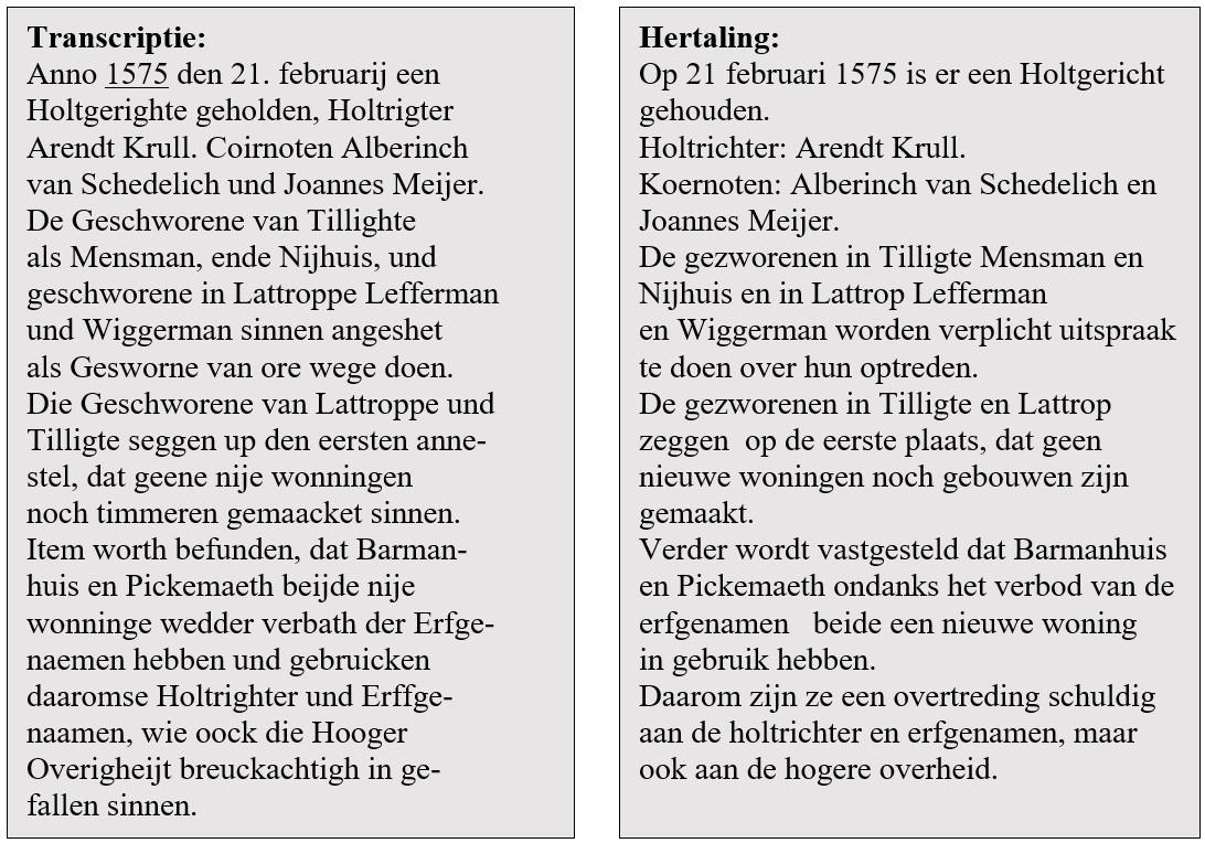 Transcriptie en hertaling Holtgericht marke Tilligte-Lattrop 21 februari 1575