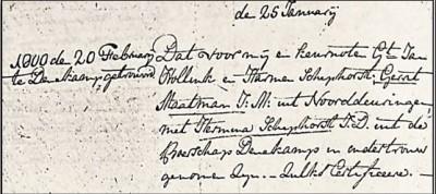 Trouwboek Denekamp Geert Maatman en Hermina Schiphorst 20-02-1800