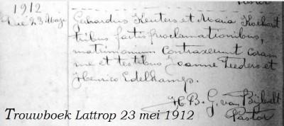 Trouwboek Keuters-Koehorst Lattrop 23 mei 1912
